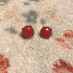 Stella and Dot coral oversized stud earrings